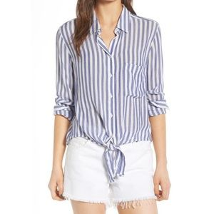 Rails Val Bermuda Stripe Blue White Tie Front Top
